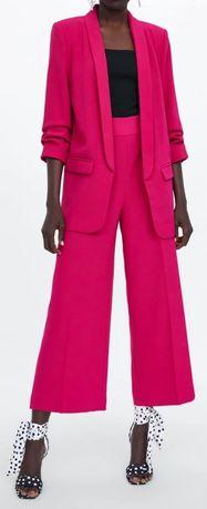 Zara spodnium żakiet z podwijanymi rękawami i spodnie culloty M L