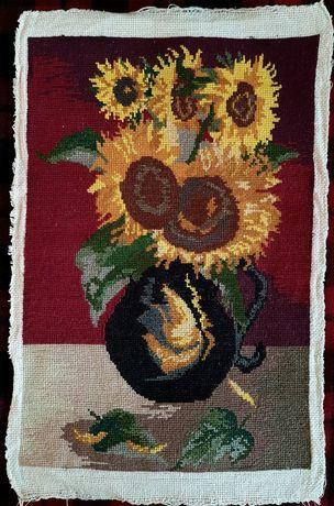 obraz wyszywany krzyżykami haft krzyżykowy haftowany słoneczniki wazon