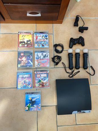 Playstation 3 com 7 jogos e Comandos