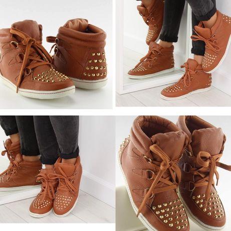 Ботинки рыжие коричневые кроссовки с шипами заклёпками 25,5 см 39 р