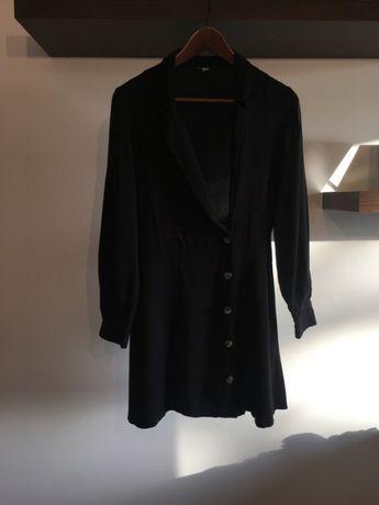 Sukienka koszula czerń XS 34 guziki Asos