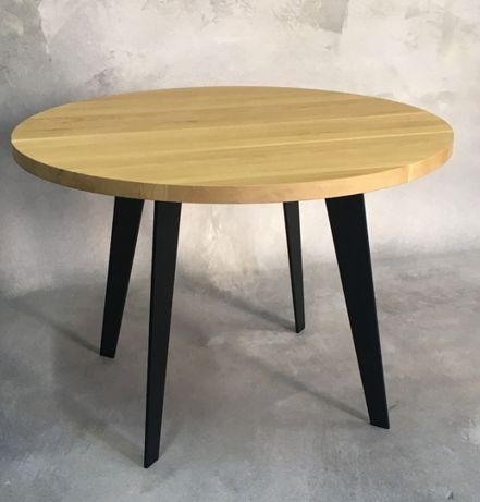 Stół okrągły dębowy lite drewno rozkładany blacha dąb loft skandynawsk