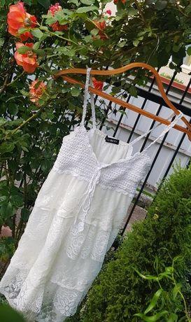 Кружевное гипюр платье сарафан туника белое молочное белоснежное вязан