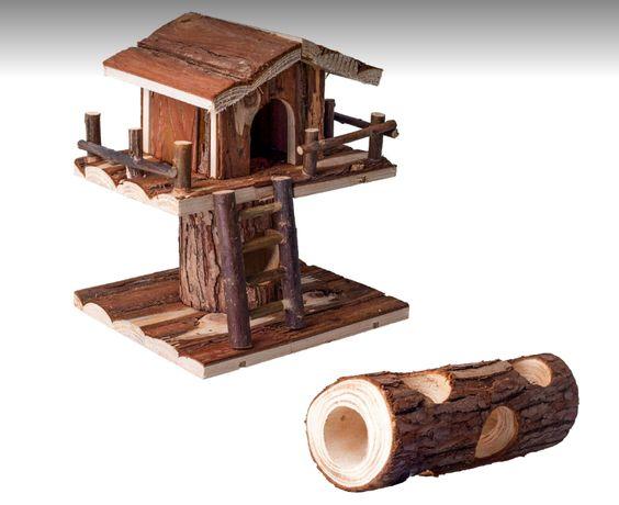 Drewniany piętrowy domek dla chomika + miejsce do zabawy, plac zabaw