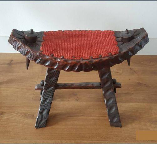 Stare hiszpańskie krzesło + taboret podnóżek stołek dekoracja ozdoba