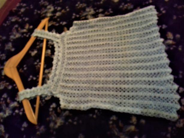 Top de alças em Crochet azul-bébé
