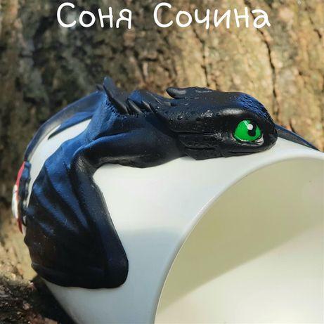 Кружка с декором Беззубик подарок фарфоровая чашка чайная Wilmax лепка