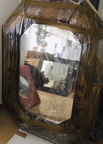 Espelho antiquário antigo pintado à mao (arte) lapidado RARO