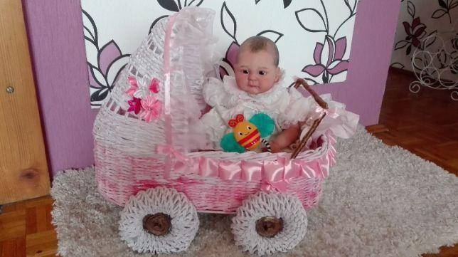 Wózek wiklina papierowa lalka Reborn i inne na zamówienie-rękodzieło !
