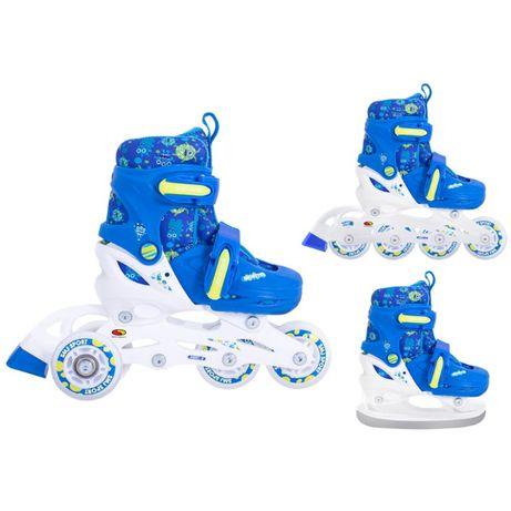 Rolki łyżwy wrotki 3w1 Monster 26-29 ; 30-33 blue