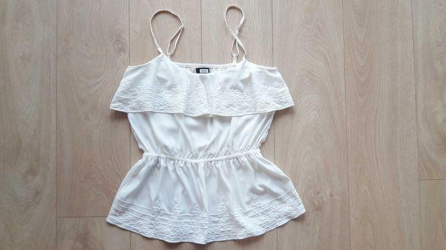 top biała bluzka letnia na lato falbanka S 36