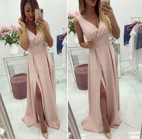 Sukienka pudrowa maxi Chicaca 38 druhna świadkowa