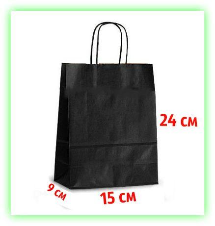 Бумажный Черный подарочный крафт пакет с ручками 150х90х240 - упаковка