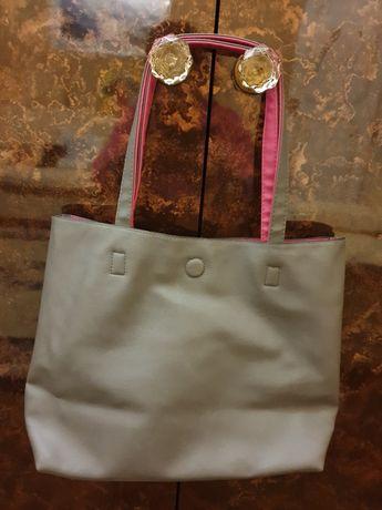 Mala/saco cinza e rosa