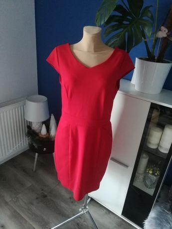 R. 40 czerwona, prosta, damska sukienka