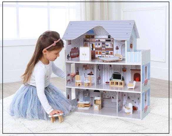 """Rezydencja """"MALIBU"""", drewniany domek dla lalek premium + meble"""