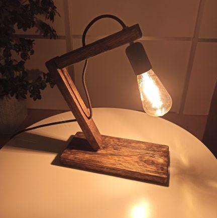 lampa lampka stołowa Loft, rękodzieło, drewno, DIY