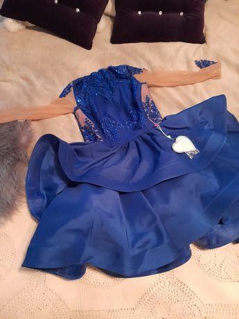 Sukienka Lou niebieska nowa koronka falbany