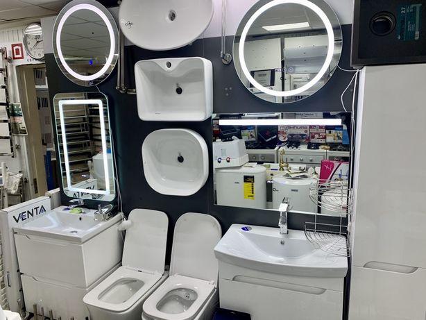 Зеркала с led подсветкой в ванную со шкафчиком  пеналы qtap potato rea