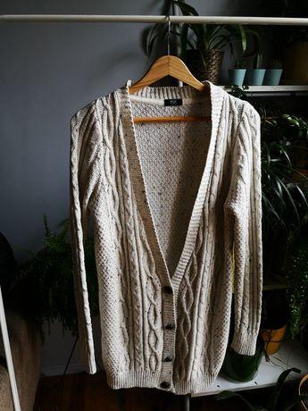 F&f sweter sweterek beżowy ecru kremowy warkocz kardigan 36 38 s m