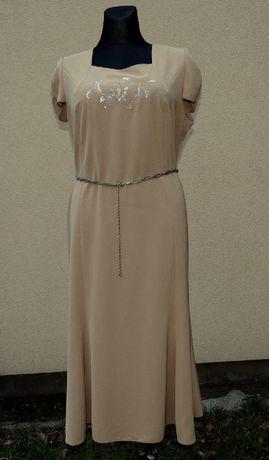 elegancka wizytowa sukienka beż rozm. 50