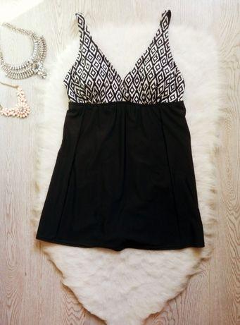 Черный сдельный цельный купальник платье с юбкой чашками на бретелях у