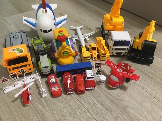 Машинки, самолет, экскаватор, поезд конструктор
