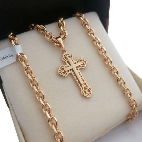 Luksusowy złoty łańcuszek ANKIER 50cm +KRZYŻYK 18K GWARANCJA PREZENT