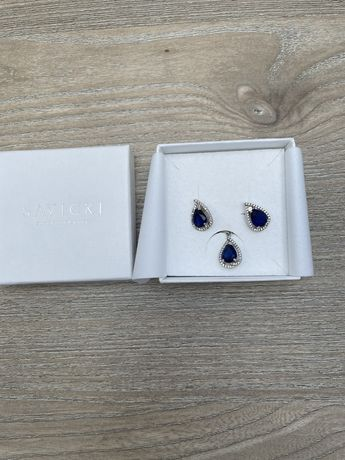 Komplet biżuterii srebro i szafir