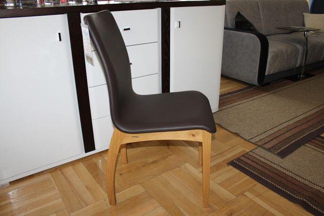 Modne krzesła SLIM brązows skóra eko drewno dąb dostepne 6 szt