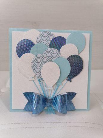 Kartka urodzinowa dla chłopca, niebieska z balonikami.