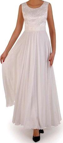 Suknia ślubna z koronki i szyfonu + koronkowe bolerko