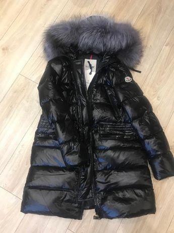 Nowa kurtka puchowa plaszcz moncler 34 36 damska jenot naturalny