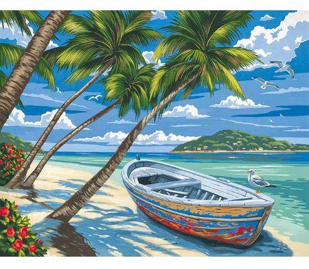 Namaluj obraz sam - Łódka Palmy Ocean - do malowania po numerach