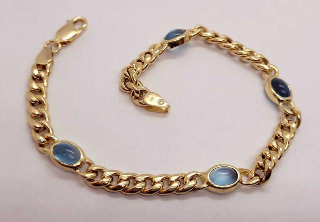 Złota dmuchana bransoletka z kamieniami 8.45g p.585 19cm /LIDER