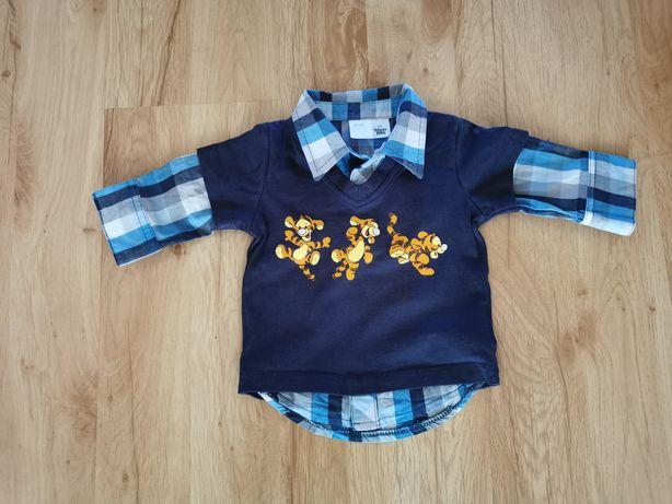 Bluzka chłopięca z elementami koszuli H&M długi rękaw r. 62