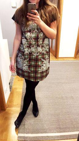sukienka zara mini 38 M we wzory na lato z krótkim rękawem