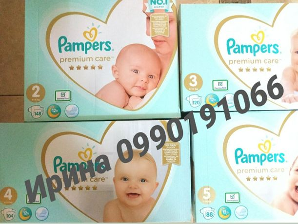 Подгузники Pampers Premium Care Памперс Премиум Кеа 3 120, 4 104, 5 88