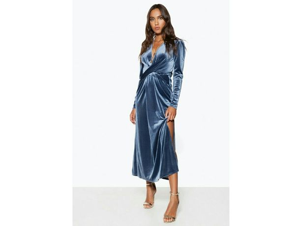 Бархатное платье миди запах разрез сукня міді