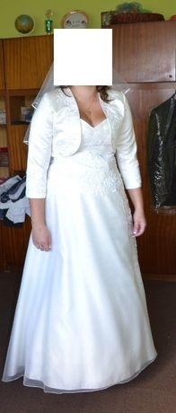 Suknia ślubna z trenem i z bolerkiem 42 stan bdb