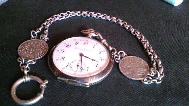 Srebra-srebro 800 antyk zegarek kieszonkowy Tavannes 1910r i dewizka.