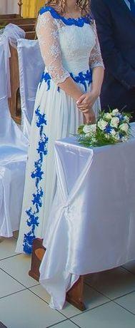 Suknia ślubna empire- ecru z niebieskim