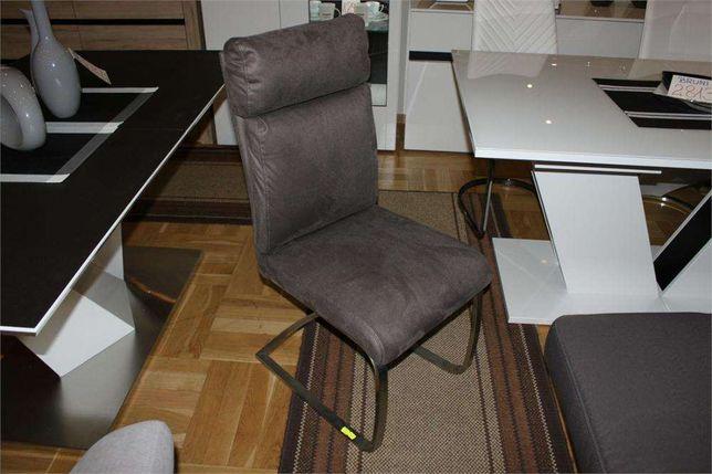 Krzesła krzesło RABEA -25% tkanina szara na płozie stal szczotkowana