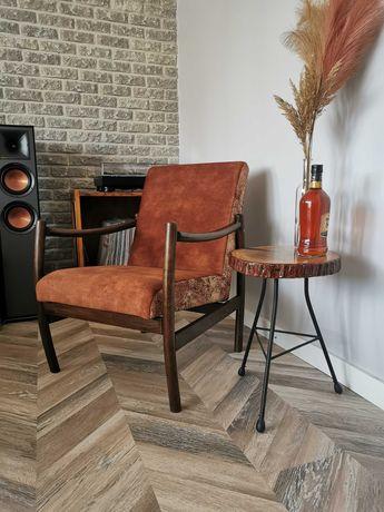 Designerski fotel gięty PRL po renowacji retro, vintage, loft, Lisek