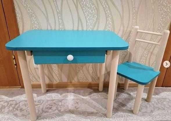 Стіл і стілець дитячий для дітей 2-6 років.Блакитна столешня. ЛДСП 16м