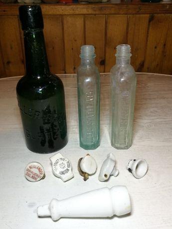 Stara Niemiecka butelka GLATZ (Kłodzko), korek FRANKESTEIN i OSC. KAHL
