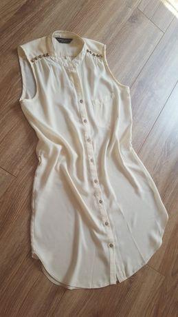 Zwiewna kremowa bezowa nude lejaca bluzka Dorothy Perkins mgiełka w ro