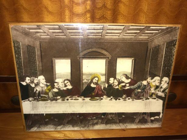 obraz reprint plakat na desce ostatnia wieczerza religijny