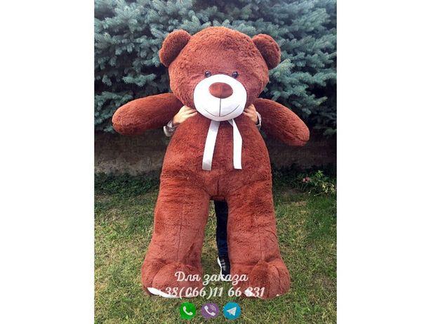 Мишка 200 см коричневый, плюшевый мишка 2 метра, медведь 2 метра