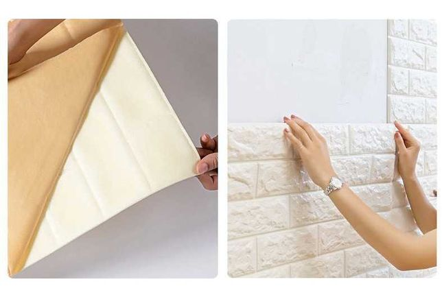 моющиеся 3д панели обои под кирпич\\ самоклеющийся  плитка и ламинат